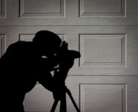 L'ombre ou la silhouette du photographe Photographie stock