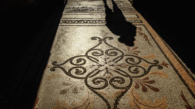 L'ombre sur le plancher de mosaïque Image libre de droits