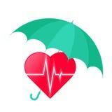 L'ombrello protegge il cuore con la linea di impulso di battito cardiaco Medicina concentrata Immagini Stock Libere da Diritti