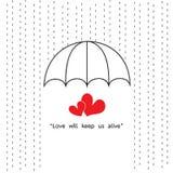 L'ombrello protegge piovoso con due citazioni del cuore Fotografie Stock Libere da Diritti