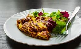 L'omelette con insalata mista fresca lascia in un piatto Fotografia Stock Libera da Diritti