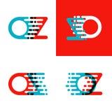 L'once marque avec des lettres le logo avec l'accent pour expédier en rouge et bleu illustration de vecteur