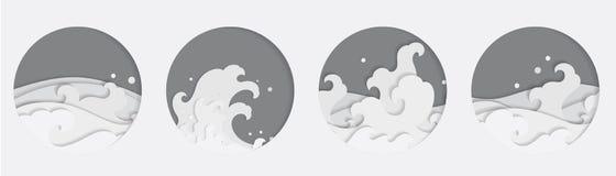 L'onda di acqua orientale 4 Papercut disegna nella forma rotonda tailandese cinese giapponese illustrazione di stock