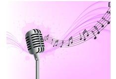 L'onda realistica del microfono del fondo astratto di musica nota il fondo rosa illustrazione vettoriale