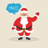 L'onda sveglia di Santa la sua mano e dice noioso-noioso-noioso Carattere per il Natale ed il nuovo anno Progettazione piana mode Immagini Stock Libere da Diritti