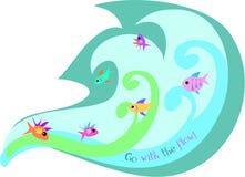 L'onde des poissons est assortie au flux illustration stock