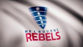 L'ondulation dans le drapeau de vent avec le symbole de l'équipe de rugby Melbourne se rebelle concept de sports Utilisation édit illustration de vecteur