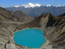L'ONU bleu de lac le Salkantay Inca Trail dans Cusco, Pérou Photographie stock