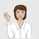 L'opératrice de fille montre un ok de signe de main illustration de vecteur