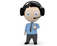 L'operatore della call center lo gradice! Characte sociale 3D Immagine Stock
