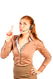 L'operatore della ragazza comunica con il cliente Fotografia Stock Libera da Diritti