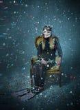 L'operatore subacqueo in un carnevale ondeggia fotografia stock libera da diritti