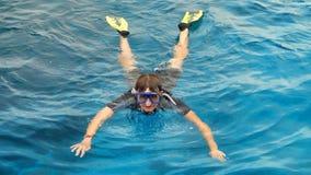 L'operatore subacqueo in una maschera Fotografie Stock