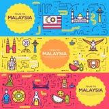 L'opuscolo di vettore di viaggio della Malesia del paese carda la linea sottile modello di flyear, riviste, manifesti, copertina  illustrazione vettoriale