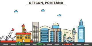 L'Orégon, Portland Horizon de ville illustration de vecteur