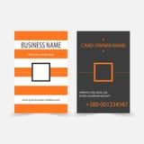 L'orange abstraite barre les cartes de visite professionnelle de visite verticales Image libre de droits