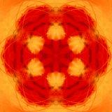 L'orange abstraite a peint le kaléidoscope, photo de mandala du feu illustration stock