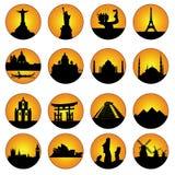 L'orange boutonne les endroits célèbres dans le monde Image libre de droits