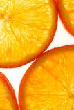 L'orange découpe le fond en tranches blanc Photos stock