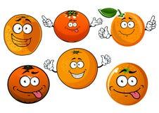 L'orange juteuse mûre de bande dessinée porte des fruits des caractères Photo libre de droits