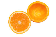 L'orange s'est dédoublée sur la moitié Photos stock