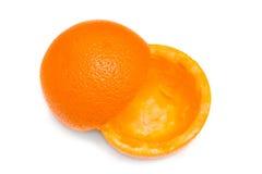 L'orange s'est dédoublée sur la moitié Photographie stock
