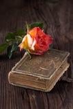 L'orange s'est levée avec le vieux livre Photo libre de droits