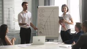 L'orateur d'affaires répondent à la question agissant l'un sur l'autre avec l'assistance à l'atelier d'entreprise banque de vidéos