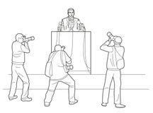 L'oratore sta dietro un podio con i microfoni L'altoparlante stendere un rapporto al pubblico I fotografi prendono le immagini L' Immagini Stock
