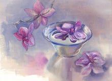 L'orchidée rose fleurit l'aquarelle illustration libre de droits