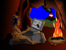 L'ordinateur connaissent même des hommes des cavernes s'asseyant autour du Image stock