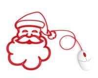 l'ordinateur de câble a dépeint le sourire de Santa de souris Photo libre de droits