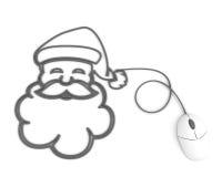 l'ordinateur de câble a dépeint le sourire de Santa de souris Photos stock