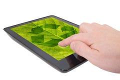 L'ordinateur de tablette avec réutilisent le symbole Image libre de droits