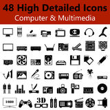 L'ordinateur et les multimédia lissent des icônes illustration de vecteur