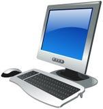 L'ordinateur a placé avec le moniteur, la souris et le clavier Photo stock
