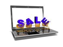 L'ordinateur portable, caddies, vente, le concept commercial d'Internet, 3d rendent Photographie stock libre de droits
