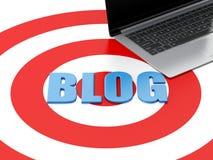 l'ordinateur portable 3d et le blog se connectent la cible Photographie stock libre de droits