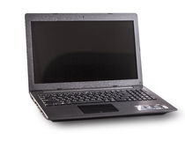 L'ordinateur portable de couleur noire sur le fond blanc Images libres de droits