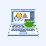 L'ordinateur portable indépendant de concepteur avec des revenus de revenu donne le dolla d'argent illustration de vecteur