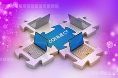 L'ordinateur portable se relient dans les puzzles Photo libre de droits