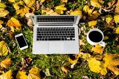 L'ordinateur portable Smartphone et le café sur la feuille ont couvert l'herbe dehors Image stock