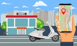 L'ordinazione e la distribuzione online di acquisto con il motociclo o motorino e città abbelliscono illustrazione di stock