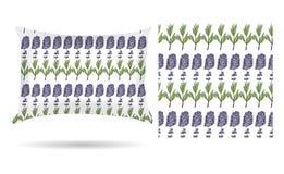 L'oreiller décoratif avec la lavande fleurit la taie d'oreiller modelée dans un style élégant et doux sur un fond blanc D'isoleme illustration stock