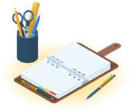 L'organizzatore del pianificatore, della penna e del desktop Vettore piano IL isometrico illustrazione di stock