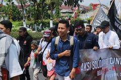 L'ORGANIZZAZIONE PACIFICA DIFENDE LA PALESTINA A YOGYAKARTA fotografia stock libera da diritti