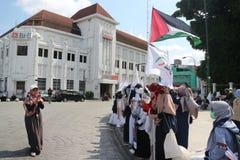 L'ORGANIZZAZIONE PACIFICA DIFENDE LA PALESTINA A YOGYAKARTA, INDONESIA fotografie stock