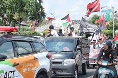 L'ORGANIZZAZIONE PACIFICA DIFENDE LA PALESTINA A YOGYAKARTA, INDONESIA fotografia stock