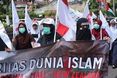 L'ORGANIZZAZIONE PACIFICA DIFENDE LA PALESTINA A YOGYAKARTA, INDONESIA immagini stock libere da diritti