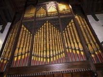 L'organo della st Marys, chiesa del priore di Lancaster è vicino dal castello sopra la città in Inghilterra fotografie stock